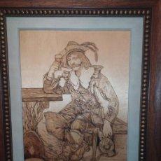 Varios objetos de Arte: ÚNICOS VENTA TC PIROGRABADO PIROGRAFIADO JOSE BRESÓ CABALLERO ESPADACHÍN TABERNA PRECIOSO. Lote 190862542