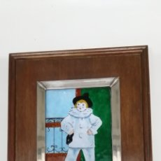Varios objetos de Arte: ESMALTE PICASSO, PAUL EN PIERROT. MARCO DE PLATA. CON CONTRASTE. PRECIOSO.. Lote 190863712