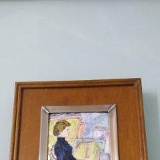 Varios objetos de Arte: ESMALTE. TOULOUSE LAUTREC. HELEN VARY EN EL ESTUDIO. MARCO DE PLATA. PLATA DE LEY 852 MILÉSIMAS.. Lote 190865096
