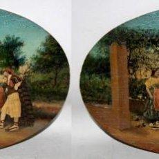 Varios objetos de Arte: PAREJA DE TABLILLAS CON COLLAGE DE FOTOGRAFIAS REPASADAS AL OLEO. COSTUMBRES VALENCIANAS. CIRCA 1900. Lote 191059357