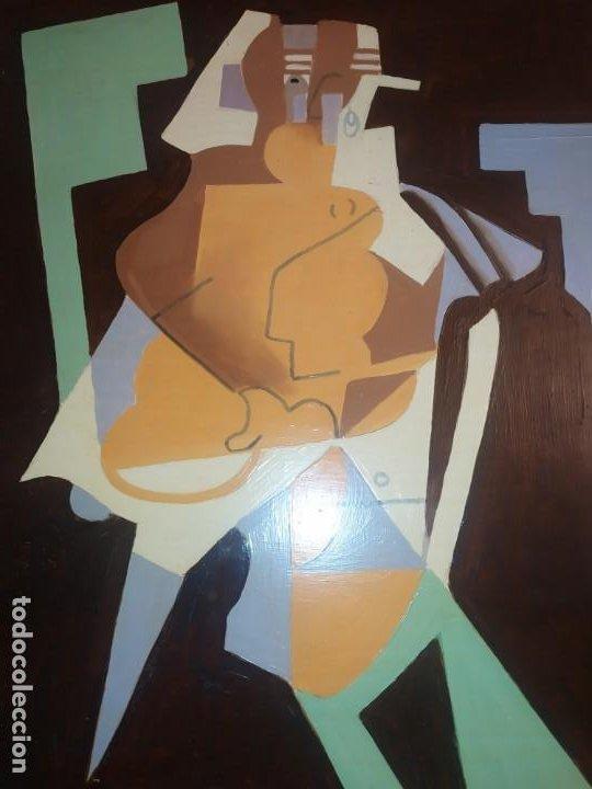 ÓLEO SOBRE TABLA PICASIANO ATRIBUIDO A RAMÓN IRANZO ANTIGUO PICASSO VISITE MIS OTROS RAMÓN IRANZO (Arte - Varios Objetos de Arte)