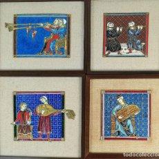Varios objetos de Arte: CONJUNTO DE 4 ESCENAS DE MÚSICOS BARROCOS. METAL ESMALTADO. SIGLO XX. . Lote 191674541