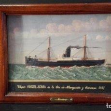 Varios objetos de Arte: BARCO A VAPOR EN RELIEVE ENMARCADO MS/ MIGUEL SERRA . Lote 192195221