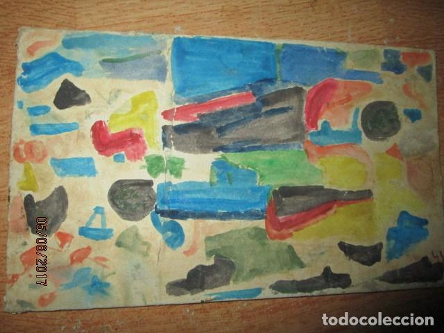 Varios objetos de Arte: PINTURA ANTIGUA ACUARELA EN CARTON ABSTRACTO FIRMADO CON INICIAL - Foto 10 - 57080768
