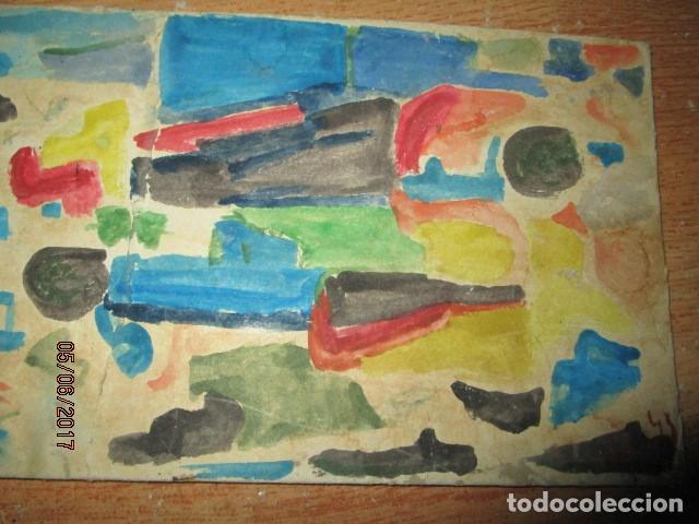 Varios objetos de Arte: PINTURA ANTIGUA ACUARELA EN CARTON ABSTRACTO FIRMADO CON INICIAL - Foto 11 - 57080768
