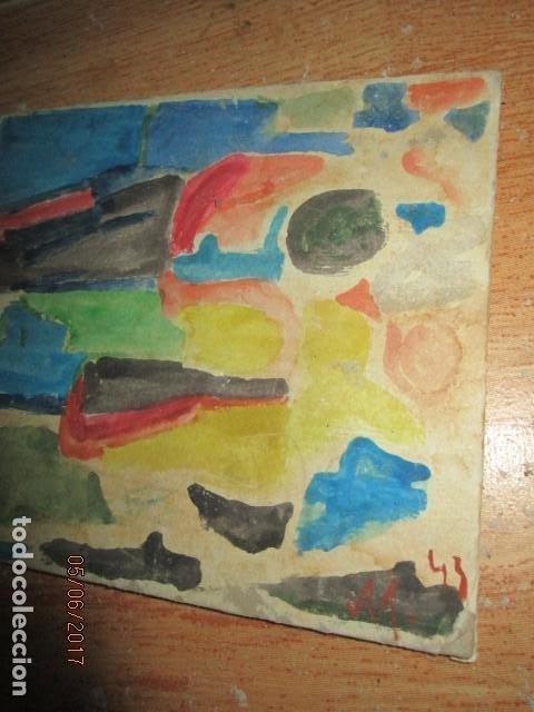 Varios objetos de Arte: PINTURA ANTIGUA ACUARELA EN CARTON ABSTRACTO FIRMADO CON INICIAL - Foto 12 - 57080768