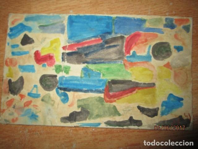 PINTURA ANTIGUA ACUARELA EN CARTON ABSTRACTO FIRMADO CON INICIAL (Arte - Varios Objetos de Arte)