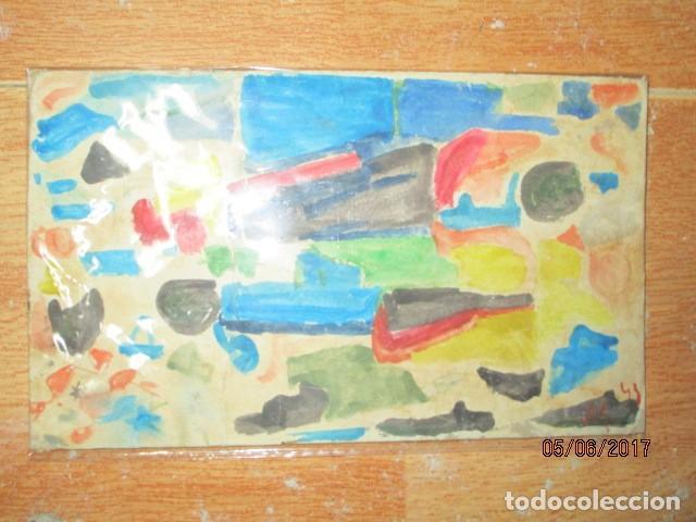 Varios objetos de Arte: PINTURA ANTIGUA ACUARELA EN CARTON ABSTRACTO FIRMADO CON INICIAL - Foto 14 - 57080768