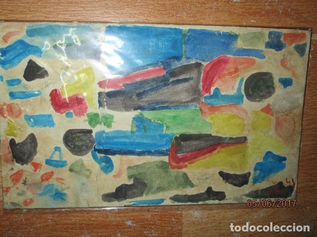 Varios objetos de Arte: PINTURA ANTIGUA ACUARELA EN CARTON ABSTRACTO FIRMADO CON INICIAL - Foto 3 - 57080768