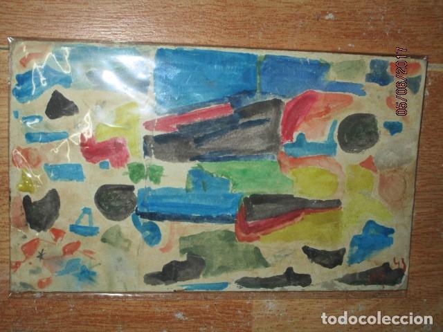 Varios objetos de Arte: PINTURA ANTIGUA ACUARELA EN CARTON ABSTRACTO FIRMADO CON INICIAL - Foto 6 - 57080768