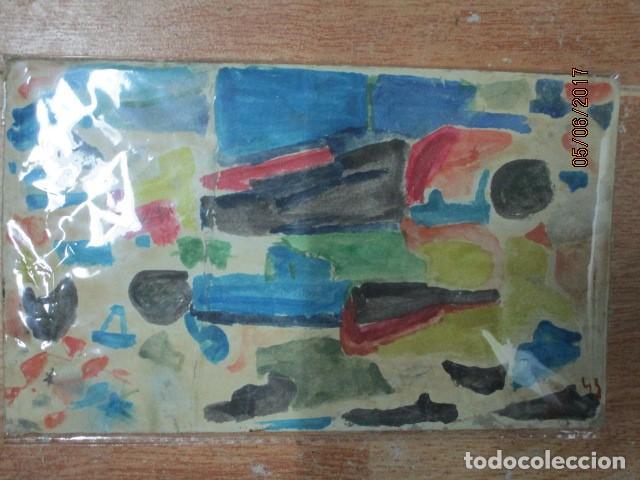 Varios objetos de Arte: PINTURA ANTIGUA ACUARELA EN CARTON ABSTRACTO FIRMADO CON INICIAL - Foto 15 - 57080768
