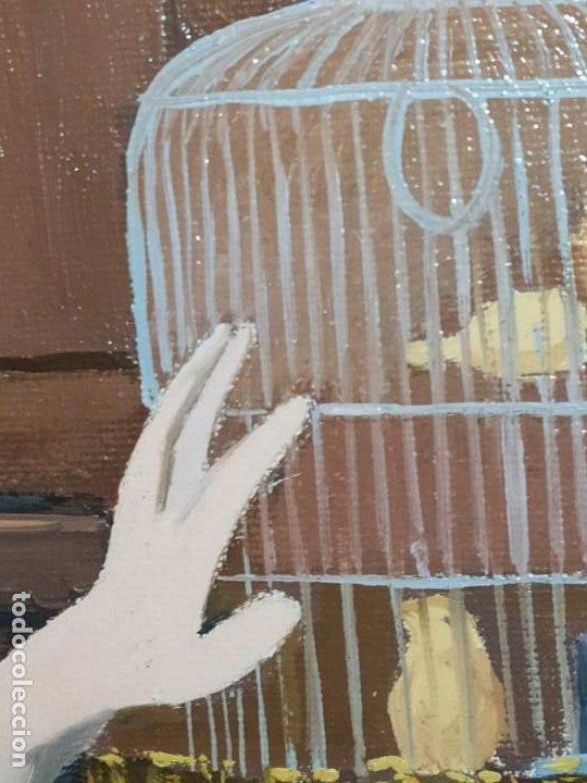 Varios objetos de Arte: PRECIOSO OLEO SOBRE LIENZO SEÑORA CHICA GATO JAULA PÁJAROS VICTORIANA FIRMADO TORRES ANTIGUO ÚNICO? - Foto 4 - 192264233