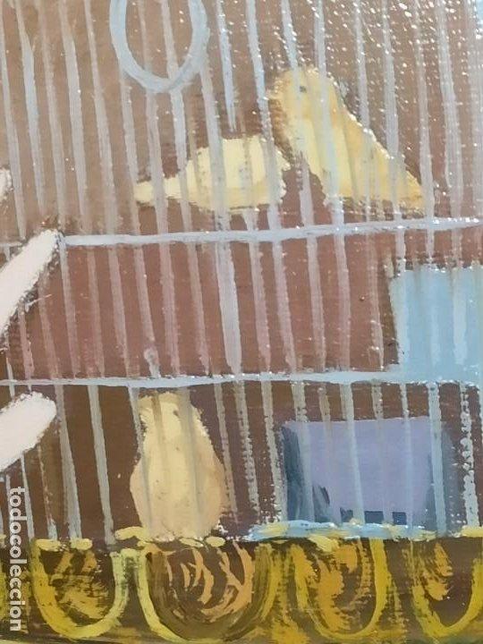 Varios objetos de Arte: PRECIOSO OLEO SOBRE LIENZO SEÑORA CHICA GATO JAULA PÁJAROS VICTORIANA FIRMADO TORRES ANTIGUO ÚNICO? - Foto 5 - 192264233