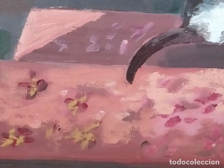 Varios objetos de Arte: PRECIOSO OLEO SOBRE LIENZO SEÑORA CHICA GATO JAULA PÁJAROS VICTORIANA FIRMADO TORRES ANTIGUO ÚNICO? - Foto 8 - 192264233