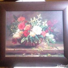 Varios objetos de Arte: CUADRO CON FLORES. 'FLOWERS IN BASKET'. JO STEVENS. REPRODUCCIÓN. 65 X 56 CM. Lote 192343213