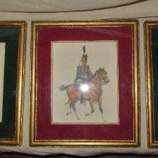 Varios objetos de Arte: 2 LÁMINAS DE SOLDADOS A CABALLO ENMARCADAS. Lote 192479763