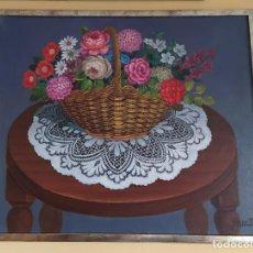 Varios objetos de Arte: CUADRO, PERE PLA, CISTELL DE FLORS, PINTURA SOBRE TELA. Lote 193073945