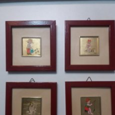 Varios objetos de Arte: CUADROS PINTADO SOBRE LÁMINA ORO 22 KLT.. Lote 193338426
