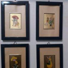 Varios objetos de Arte: CUATRO CUADROS PINTADO A MANO EN LÁMINA ORO 22 KLT.. Lote 193338930