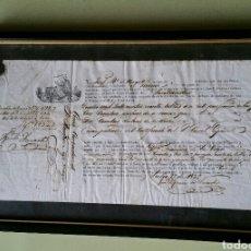 Arte: CUADRO RECIBO DE EMBARQUE 1832. Lote 193432900