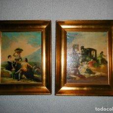 Arte: LOTE 2 CUADROS GOYA, MARCOS DE MADERA DORADOS.. Lote 194174230