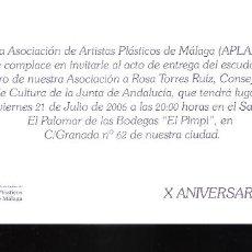 Varios objetos de Arte: HOMENAJE.ROSA TORRES RUIZ. APLAMA. JULIO 2006. BODEGAS DE EL PIMPI. MALAGA. TARJETA.21X10 CM.. Lote 194287975