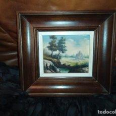 Varios objetos de Arte: PEQUEÑO CUADRO ÓLEO SOBRE TABLA FIRMADO J.MIÑANA LAGO BOSQUE PRECIOSO. Lote 194339087