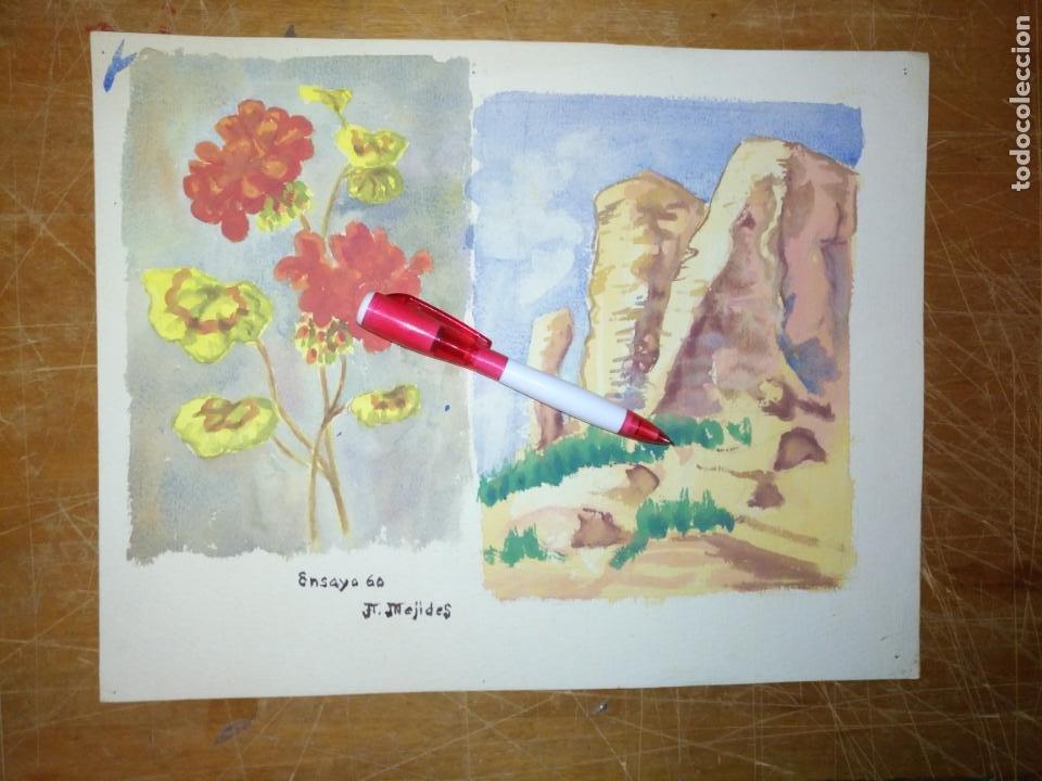 Varios objetos de Arte: ANDRES J MEJIDES PIZARRO CADIZ 25 x 32 cm - antigua pintura ensayo - Foto 6 - 194341632