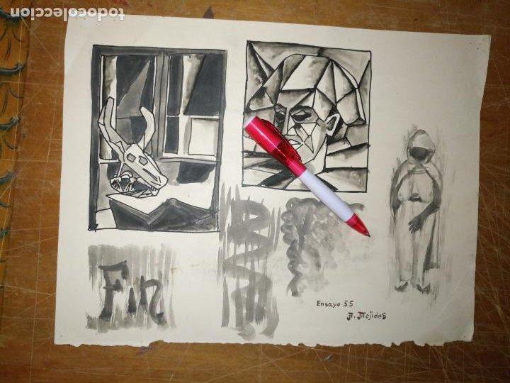 Varios objetos de Arte: ANDRES J MEJIDES PIZARRO CADIZ 24,5 x 32,5 cm - antigua pintura ensayo - Foto 2 - 194342088