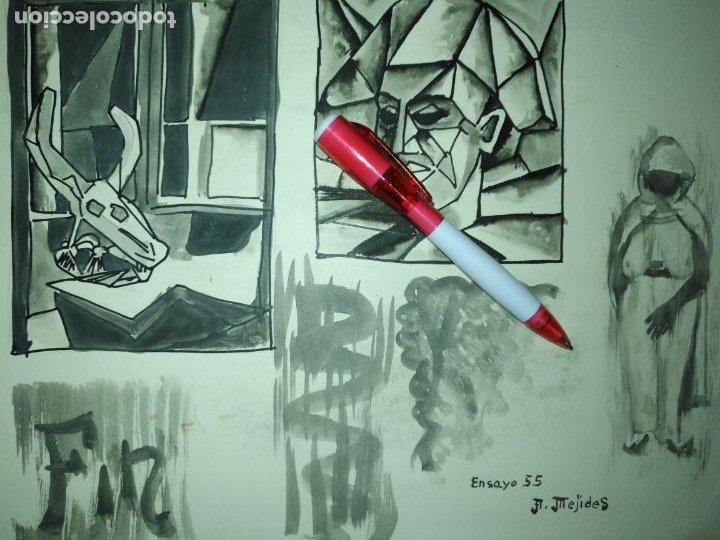ANDRES J MEJIDES PIZARRO CADIZ 24,5 X 32,5 CM - ANTIGUA PINTURA ENSAYO (Arte - Varios Objetos de Arte)