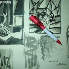 Varios objetos de Arte: ANDRES J MEJIDES PIZARRO CADIZ 24,5 X 32,5 CM - ANTIGUA PINTURA ENSAYO. Lote 194342088