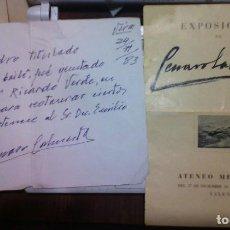 Varios objetos de Arte: CARTA CERTIFICANDO LA RESTAURACIÓN OLEO VUELTA DEL BAILE,DE RICARDO VERDE, RESTAURA GENARO LAHUERTA. Lote 194541240