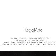 Varios objetos de Arte: REGALARTE. ART GEA, GALERÍA DE ARTE. TORREMOLINOS. TARJETA PUBLICITARIA. 21 X 10 CM.. Lote 194605685