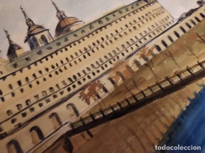 Varios objetos de Arte: PRECIOSO ANTIGUO DIBUJO MONASTERIO ESCORIAL PALACIO FIRMADO PATALUÑA ? CATALUÑA? PAPEL ACARTONADO - Foto 4 - 194644258