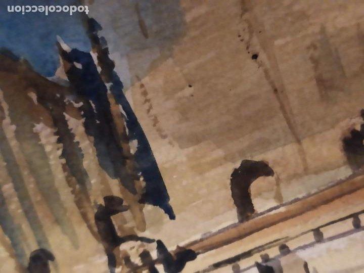 Varios objetos de Arte: PRECIOSO ANTIGUO DIBUJO MONASTERIO ESCORIAL PALACIO FIRMADO PATALUÑA ? CATALUÑA? PAPEL ACARTONADO - Foto 8 - 194644258