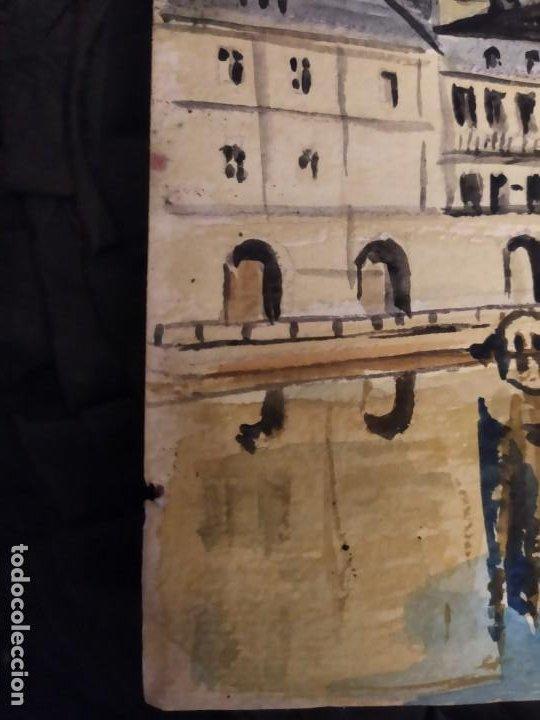 Varios objetos de Arte: PRECIOSO ANTIGUO DIBUJO MONASTERIO ESCORIAL PALACIO FIRMADO PATALUÑA ? CATALUÑA? PAPEL ACARTONADO - Foto 17 - 194644258