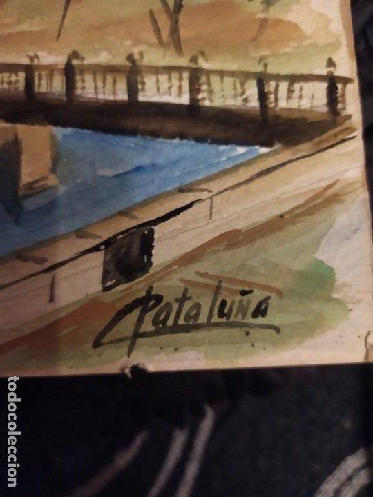 Varios objetos de Arte: PRECIOSO ANTIGUO DIBUJO MONASTERIO ESCORIAL PALACIO FIRMADO PATALUÑA ? CATALUÑA? PAPEL ACARTONADO - Foto 19 - 194644258