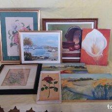 Varios objetos de Arte: LOTE DE 8 CUADROS CON PINTURAS ORIGINALES, VARIAS TÉCNICAS Y AUTORES, VARIOS FIRMADOS, A IDENTIFICAR. Lote 194657956