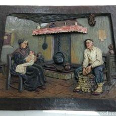 Varios objetos de Arte: ANTIGUO CUADRO TABLA RELIEVE TALLADA POLICROMADA ESCENA TIPOLOGÍA VASCA SUKALDEAN PAIS VASCO BASQUE. Lote 194705615