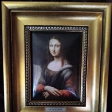 Varios objetos de Arte: LA GIOCONDA. LEONARDO DA VINCI. LAMINA METAL. MARCO DORADO.. Lote 194708566