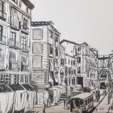 Varios objetos de Arte: DIBUJO A TINTA ORIGINAL JOSE G. ALCALA: MADRID CLASICO 2. Lote 194784501