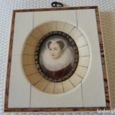 Varios objetos de Arte: MINIATURA PINTADA A MANO. CON MARCO ORIGINAL, SIN ABRIR. BUEN ESTADO.. Lote 194884368