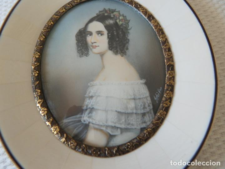 Varios objetos de Arte: Miniatura pintada a mano. Firmado. Con marco original, sin abrir. Buen estado. - Foto 2 - 194885025