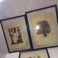 Varios objetos de Arte: LOTE DE 3 CUADROS PAPIROS ANTIGUOS FIRMADOS!. Lote 194893532