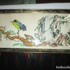 Varios objetos de Arte: ANTIGUA PINTURA ACUARELA ORIGINAL CHINA O JAPON CON SELLO DE FIRMA. Lote 195195175