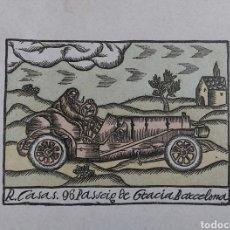 Varios objetos de Arte: HOJA CON MEMBRETE DE RAMON CASAS. 96 PASSEIG DE GRACIA BARCELONA. ORIGINAL DE ÉPOCA.. Lote 195208638