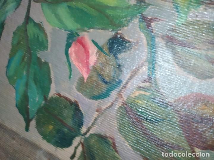 Varios objetos de Arte: LOTE ANTIGUOS ÓLEO SOBRE LIENZO FLORES SOBRE PAISAJE COSTA ISLA PRECIOSOS AÑOS 40 FIRMADOS P.YSLA - Foto 5 - 195210358