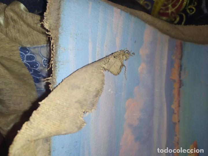 Varios objetos de Arte: LOTE ANTIGUOS ÓLEO SOBRE LIENZO FLORES SOBRE PAISAJE COSTA ISLA PRECIOSOS AÑOS 40 FIRMADOS P.YSLA - Foto 7 - 195210358