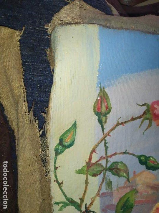 Varios objetos de Arte: LOTE ANTIGUOS ÓLEO SOBRE LIENZO FLORES SOBRE PAISAJE COSTA ISLA PRECIOSOS AÑOS 40 FIRMADOS P.YSLA - Foto 9 - 195210358