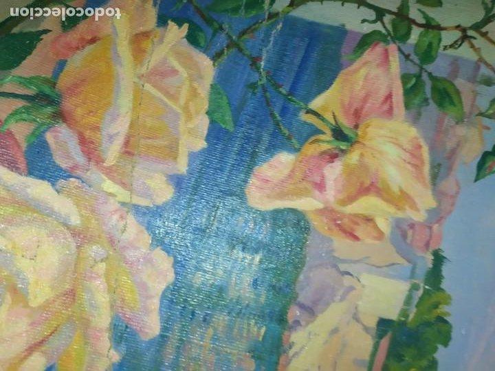 Varios objetos de Arte: LOTE ANTIGUOS ÓLEO SOBRE LIENZO FLORES SOBRE PAISAJE COSTA ISLA PRECIOSOS AÑOS 40 FIRMADOS P.YSLA - Foto 11 - 195210358